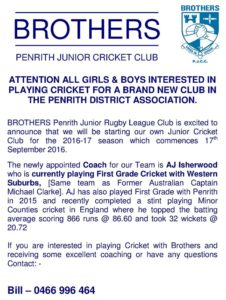 Brothers Cricket Flyer