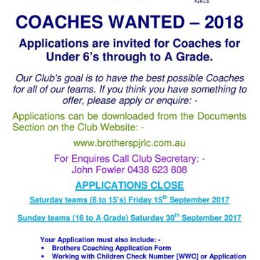 COACHING POSITIONS 2018